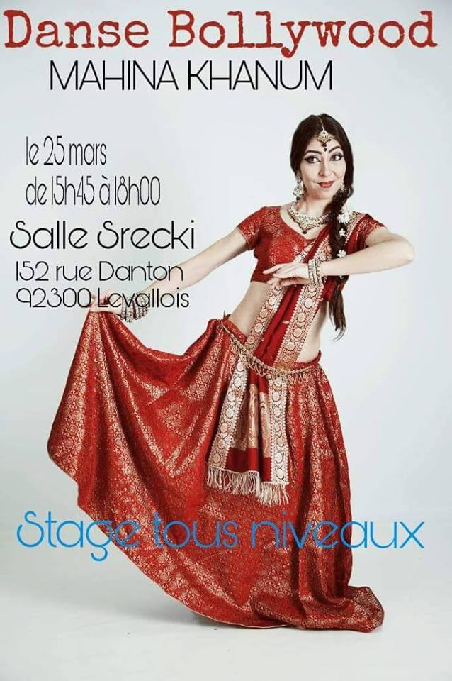 affiche stage de danse bollywood Mahina Khanum