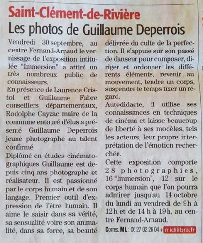exposition Immersion article midi libre sur guillaume deperrois photographe
